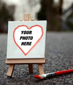Add your photo heart shape on a canvas with this photomontage