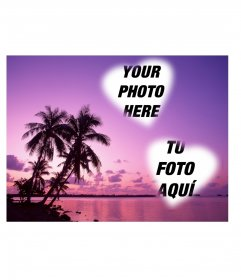 Card where you can put two photos heart-shaped with an idyllic landscape of sea and palm trees in shades of lilac.