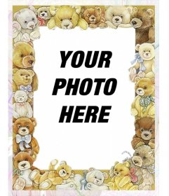 Photo frame with pictures of baby bears.