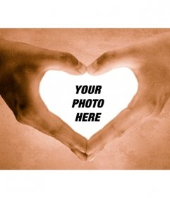 Photo frame hands making a heart. Complement your Valentine gift, Valentine's Day with this easy to edit photo montage online, you can save or email.