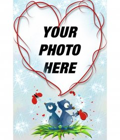 Heart-shaped frame and blue background with two animals, hearts and butterflies. Great remember  for lovers on Valentine's Day.