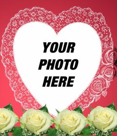 Photomontage consisting of a romantic pink in your photo appears in a heart-shaped frame accompanied by flowers and wrapping paper. Ideal for lovers. To send e-mail this Valentine