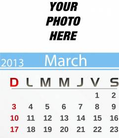 March 2013 Calendar personalized with your photo