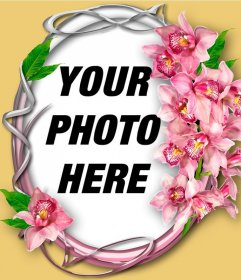 Photo frame with orchid on an ornamental circle with your photo