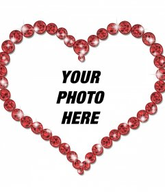 Online photo frame of a heart-shaped and brilliant diamonds