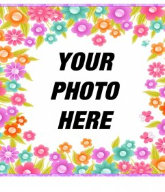 Frame with colorful flowers to decorate your photos for free