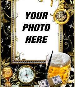 Picture frame for a photo with gold, silver and diamonds