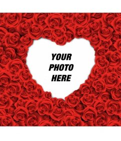 Photo frame with a heart shape filled with red roses for your romantic love photos.