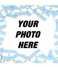 Put your photo surrounded by flags of Argentina with this photo frame