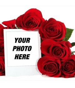 Online photo frame surrounded by a bouquet of roses