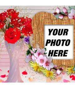 Photo frame with colorful flowers.