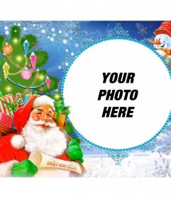 Photo frame with Santa Claus laden with gifts in a sack