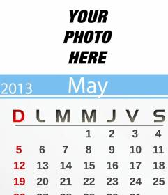 May 2013 Calendar personalized with your photo