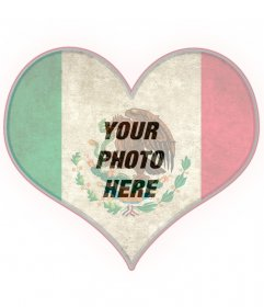 Heart-shaped photomontage with the flag of Mexico