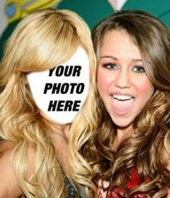 Photomontage where you put your face on Ashley Tisdale with Miley Cyrus smiling, background MTV.