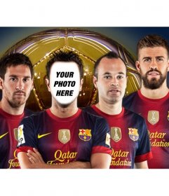 Photomontage where you can put your photo on a Barcelona soccer player