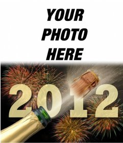 Greeting the New Year 2012 with fireworks and champagne bottle opening