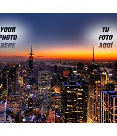 In this collage Your photo appears twice, cast in the sky over New York. Spectacular image of a sunset with the lights of the skyscrapers lit