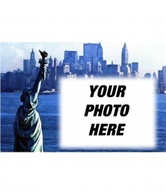 customizable with your picture postcard with an old photograph of the Statue of Liberty and New York City background. Blue.