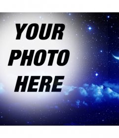 Night of stars and moon to put your photo as online filter