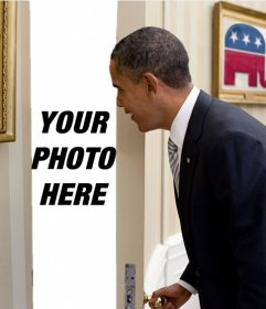 Photomontage of Barack Obama in which your photo appears behind the door that is opening