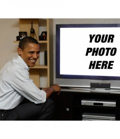 Photomontage of Obama watching TV, where will your photograph be placed