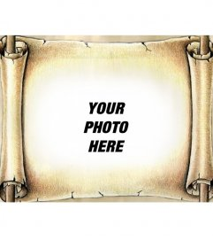 Photo montage put your photo on an ancient papyrus. Give your photos a special effect.