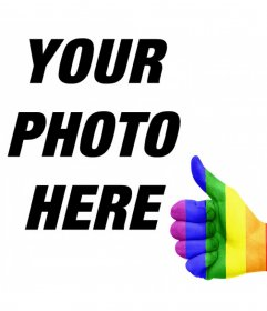 Hand with thumb up and the rainbow flag to add in your photos