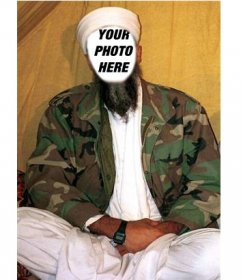 Photomontage in which to put a face to Osama Bin Laden, with his usual turban and white clothes and a military jacket.