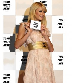 Photomontage of Paris Hilton in the background and you will appear on the title page of a CD she is showing.