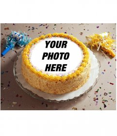 Photomontage with party confetti and a birthday cake with your photo placed on it.