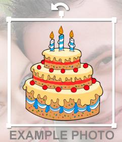 Sticker with vanilla birthday cake, cherries and candles.