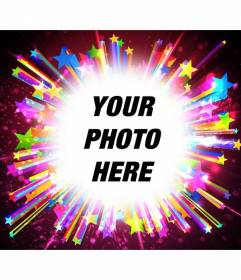 Photoframe with sparkles and vivid hues of bright stars to put a picture and add a text.
