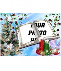 Christmas card with a montage in book form with embellishments