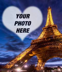 Photomontage In Paris With The Illuminated Eiffel Tower And A Semitransparent