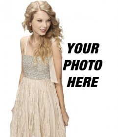 Photomontage with Taylor Swift in a bright dress to appear with her in a photo and customize with text