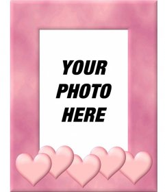 Picture frame with pink border decorated with hearts. Upload a picture, cut it out and put this edge as a decoration that inspires love
