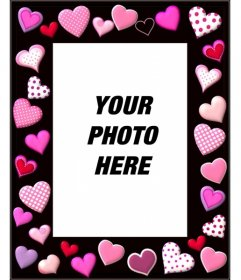 Photo frame with pink hearts on black background of different sizes and shapes