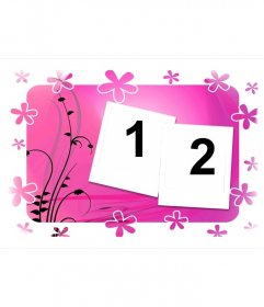 Frame for two photos, pink with flowers and vegetable background