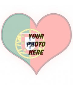 Heart-shaped flag of Portugal with your photo