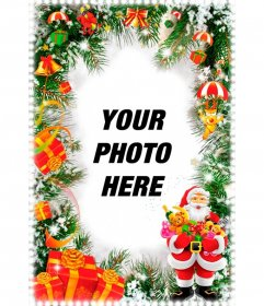 Vertical Christmas card with Santa