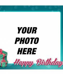 Birthday postcard with turquoise frame to congratulate the birthday of your friends and family