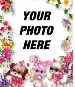 Photo frame with flowers and puppies. Upload your photo and put it in the background.