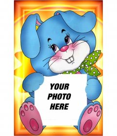 Your photograph held by a lovely picture of a blue rabbit with a green scarf ...