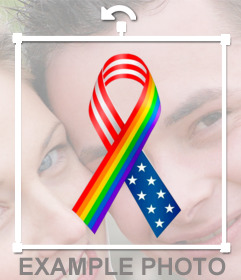 Ribbon with the colors of the Rainbow colors and the USA flag that you can put in your photo as solidarity
