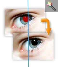 Remove red eyes from photos online