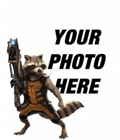 Photomontage with Rocket Raccoon of Guardians of the Galaxy