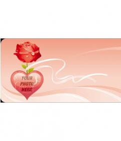 Valentine postcard with roses and hearts.
