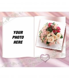 Photo Frame with a book with little heart, roses and ornamental center