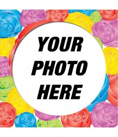 Decorate a photo to this round picture frame with roses of different colors